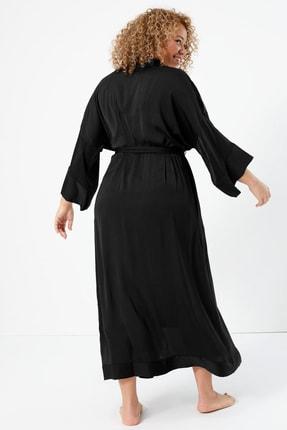 Marks & Spencer Kadın Siyah Saten Uzun Sabahlık T37008479W 2