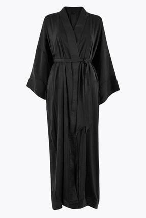Marks & Spencer Kadın Siyah Saten Uzun Sabahlık T37008479W 3