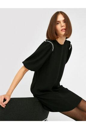 Koton Kadın Siyah Bisiklet Yaka Kisa Kollu Zincir Detayli Elbise 0