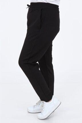 PRAKKIN Kadın Siyah Cepli Bağcıklı Çelik Örme Büyük Beden Eşofman Altı Prk-9030 4