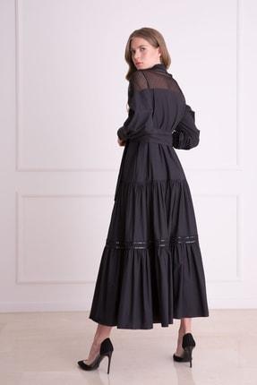 GIZIA Kadın Siyah Güpür Işlemeli Siyah Uzun Elbise 2