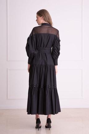 GIZIA Kadın Siyah Güpür Işlemeli Siyah Uzun Elbise 3