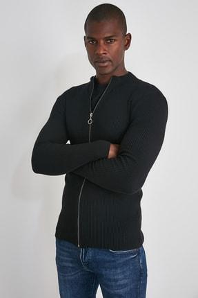 TRENDYOL MAN Siyah Erkek Uzun Kollu Önü Fermuarlı Triko Hırka TMNAW20HI0201 1