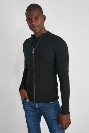 TRENDYOL MAN Siyah Erkek Uzun Kollu Önü Fermuarlı Triko Hırka TMNAW20HI0201 2
