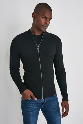 TRENDYOL MAN Siyah Erkek Uzun Kollu Önü Fermuarlı Triko Hırka TMNAW20HI0201 3