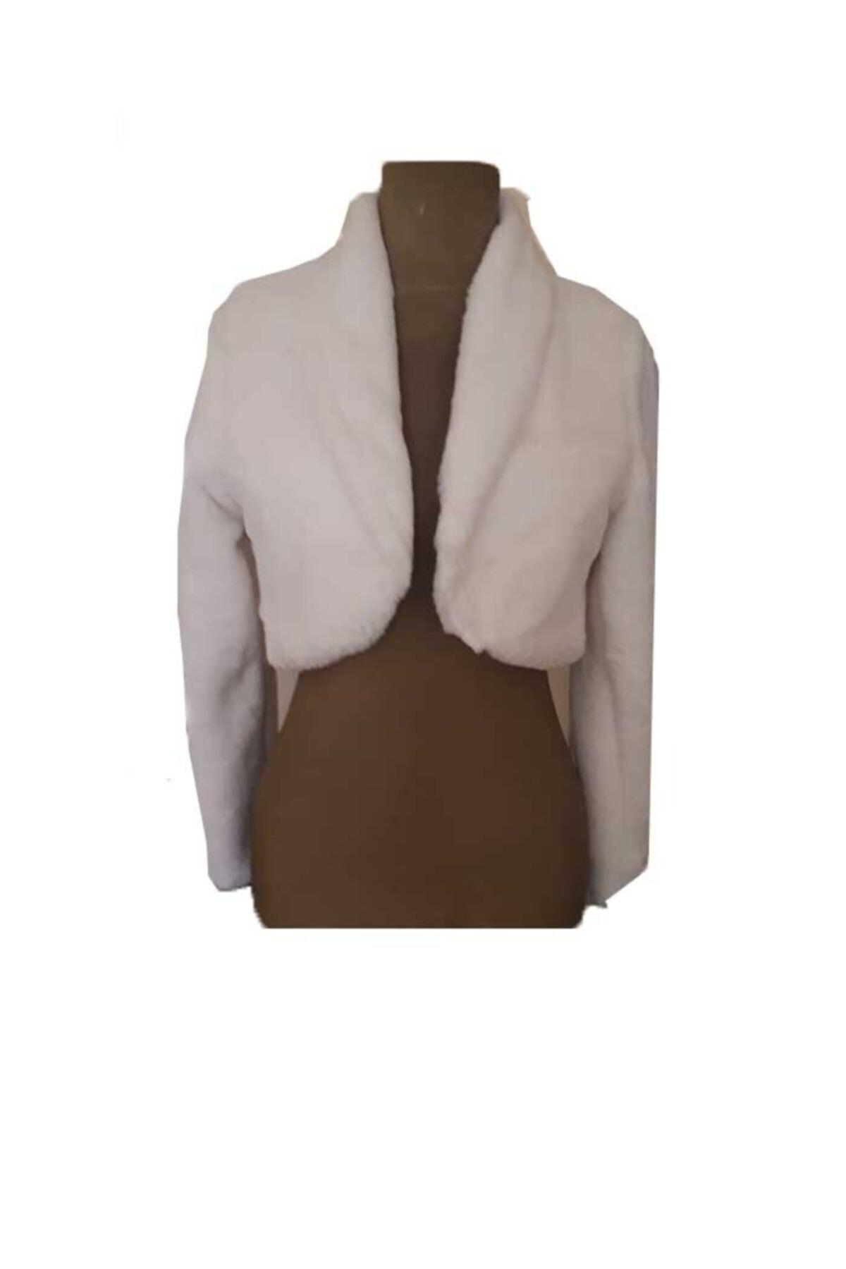 Kadın Ekru Bolero Etol Şeklinde Kısa Kürk Gelinlik Malzemeleri Kürk Ceket
