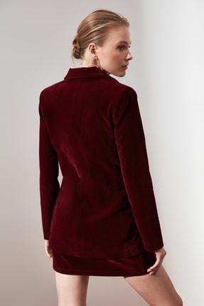 TRENDYOLMİLLA Bordo Düğme Detaylı Blazer Ceket TWOAW20CE0367 4