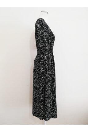 Vekem Kadın Siyah Belden Büzgülü V Yakalı Elbise 2