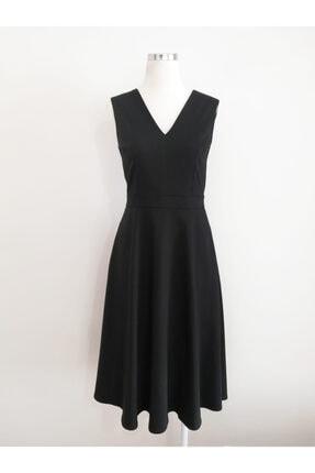 VKM Kadın Siyah V Yaka Rahat Kesim Elbise 0