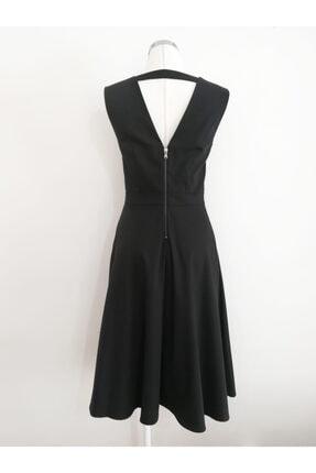 VKM Kadın Siyah V Yaka Rahat Kesim Elbise 1