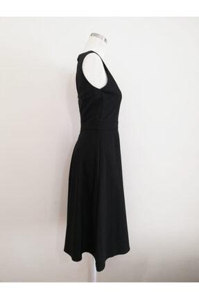 VKM Kadın Siyah V Yaka Rahat Kesim Elbise 2