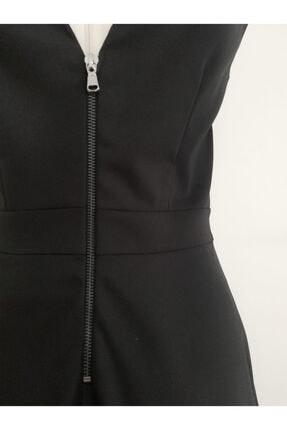 VKM Kadın Siyah V Yaka Rahat Kesim Elbise 3