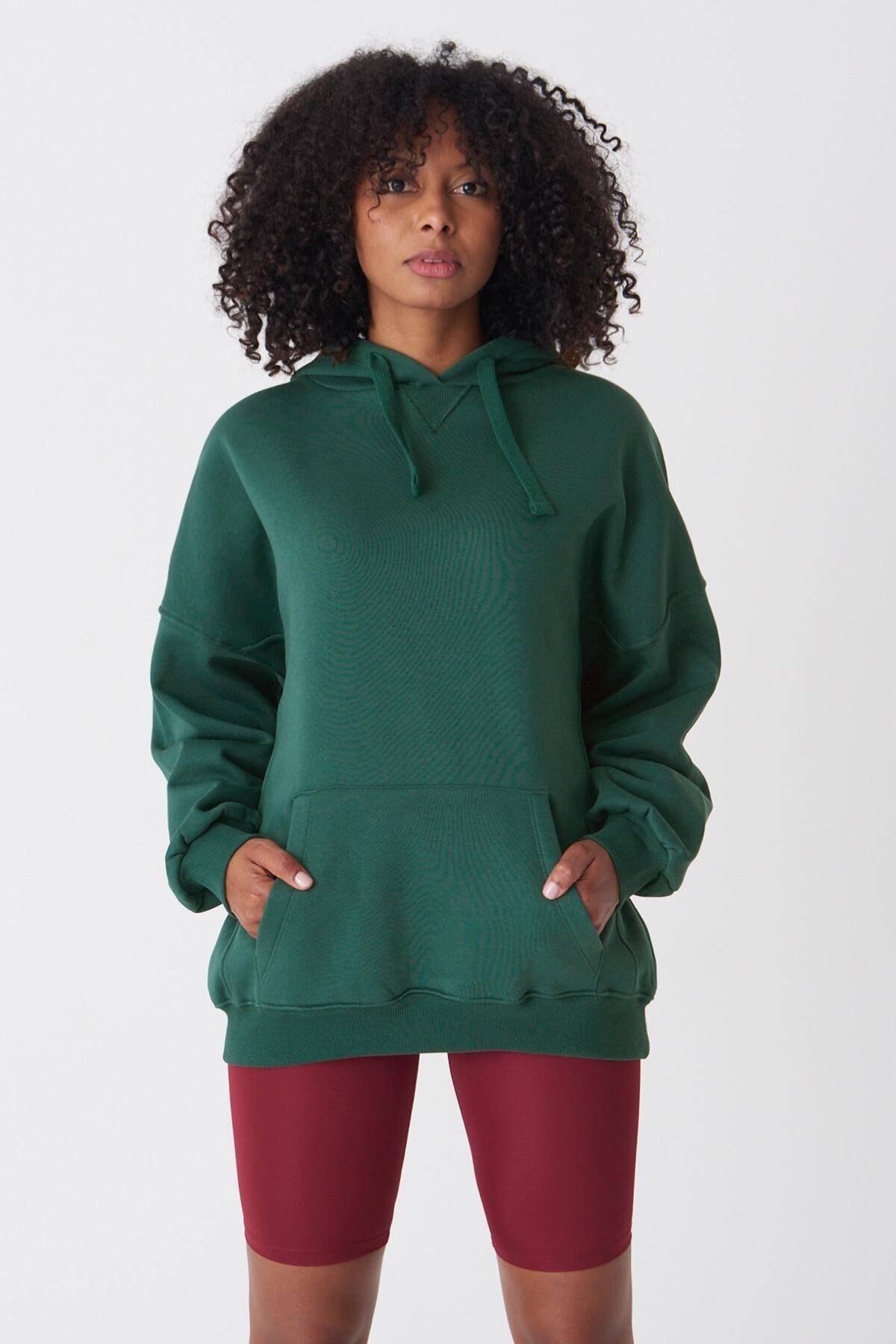 Addax Kadın Zümrüt Kapüşonlu Sweatshirt ADX-0000014040 1