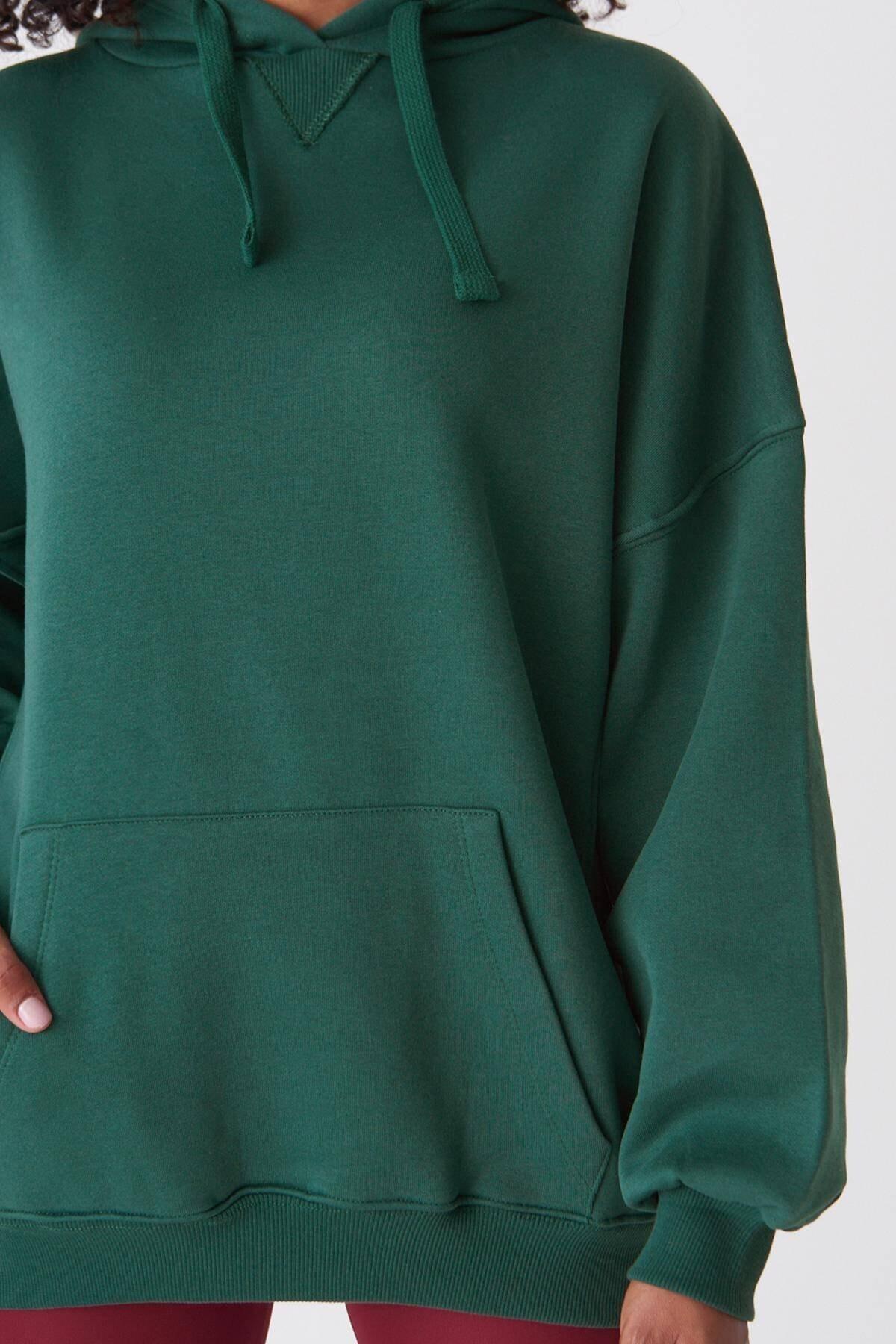 Addax Kadın Zümrüt Kapüşonlu Sweatshirt ADX-0000014040 3