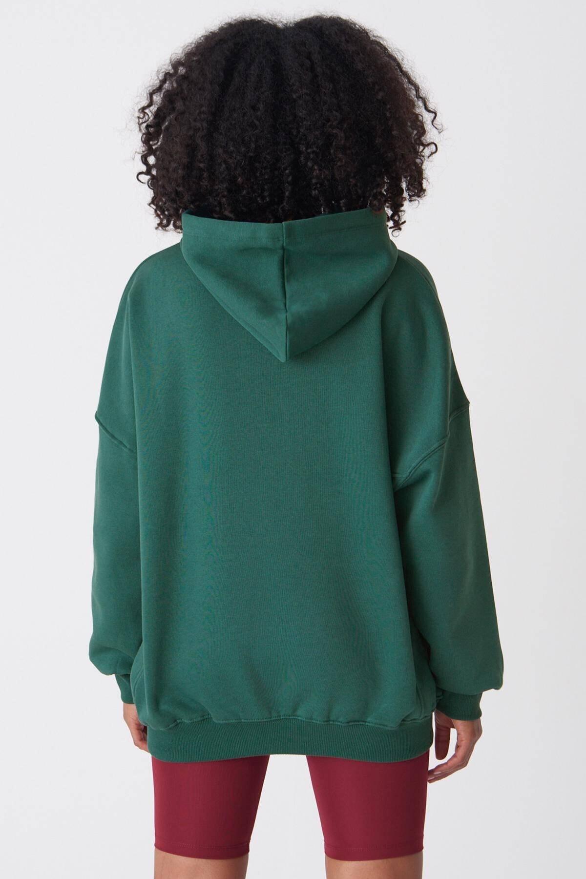 Addax Kadın Zümrüt Kapüşonlu Sweatshirt ADX-0000014040 4