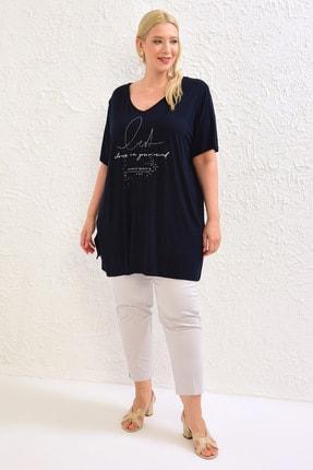 LC Waikiki Kadın Lacivert Tişört 0WBU06Z8 1