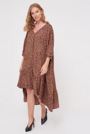 LC Waikiki Kadın Kahverengi Baskı Elbise 0WDF27Z8 1