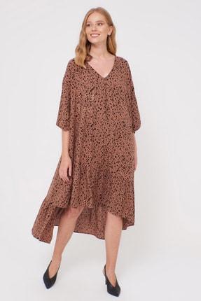 LC Waikiki Kadın Kahverengi Baskı Elbise 0WDF27Z8 2