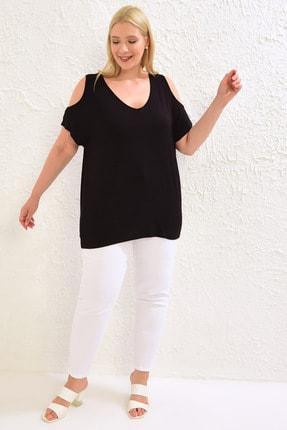 LC Waikiki Kadın Siyah Tişört 0WCC08Z8 2