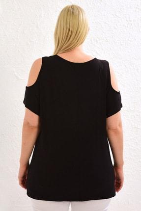 LC Waikiki Kadın Siyah Tişört 0WCC08Z8 3
