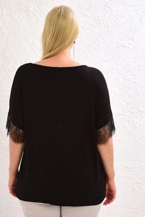 LC Waikiki Kadın Siyah Tişört 0WCC22Z8 4