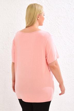 LC Waikiki Kadın Pembe Tişört 0WCC59Z8 4