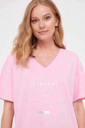 LC Waikiki Kadın Pembe Leylak Tişört 0WDU71Z8 1
