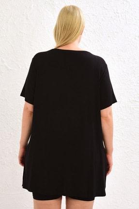 LC Waikiki Kadın Siyah Tişört 0WBU04Z8 2