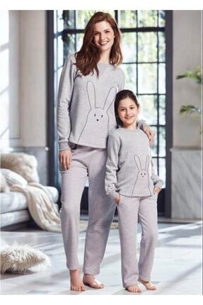 Penye Mood Kadın Gri Pijama Takımı Ev Kıyafeti 0