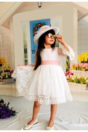 Mixie Şapkalı Güpürlü Prenses Kız Çocuk Beyaz Elbise 1