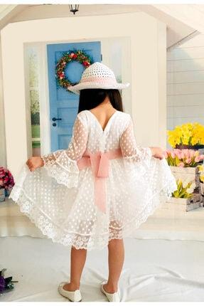 Mixie Şapkalı Güpürlü Prenses Kız Çocuk Beyaz Elbise 3