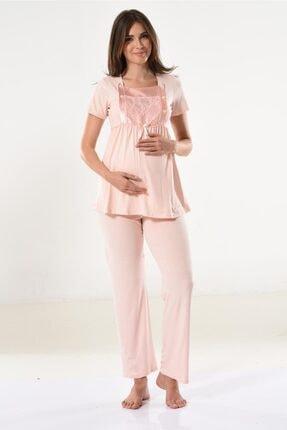 Miss Dünya Lissa Kadın Somon Dantel Detaylı Hamile Pijama Takımı 1