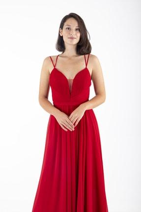 Ardanewline Kadın Kırmızı Ip Askılı Üzeri Drapeli Şifon Kırmızı Abiye & Mezuniyet Elbisesi 1301586 1