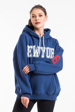 CAYA Kadın Indigo Mavi Baskı Detaylı Oversize Sweatshirt 0