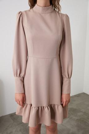 TRENDYOLMİLLA Vizon Dik Yaka Volanlı Elbise TWOAW21EL1816 3