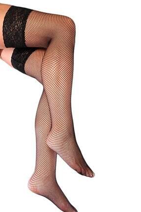 Imoda Kadın Siyah Üstü Dantel Fileli Jartiyer Çorabı 3