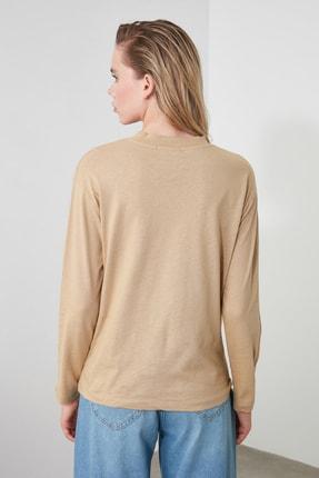 TRENDYOLMİLLA Camel Uzun Kollu Dik Yaka Basic Örme T-Shirt TWOAW20TS0233 3