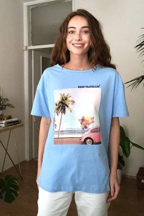 TRENDYOLMİLLA Mavi Baskılı Boyfriend Örme T-Shirt TWOSS20TS0574 0