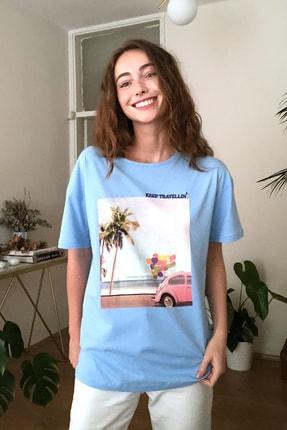 TRENDYOLMİLLA Mavi Baskılı Boyfriend Örme T-Shirt TWOSS20TS0574 2