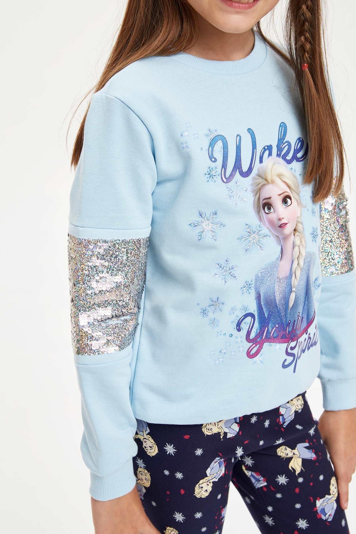 Defacto Kız Çocuk Frozen Lisanslı Payet İşlemeli  Sweatshirt 2