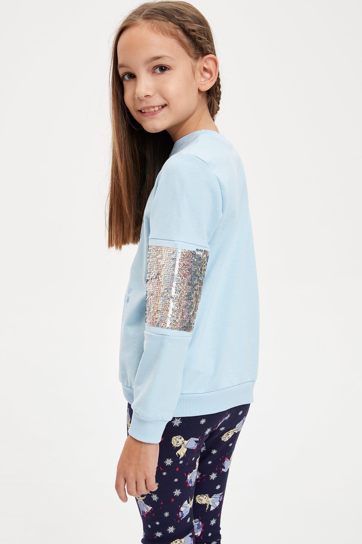 Defacto Kız Çocuk Frozen Lisanslı Payet İşlemeli  Sweatshirt 3