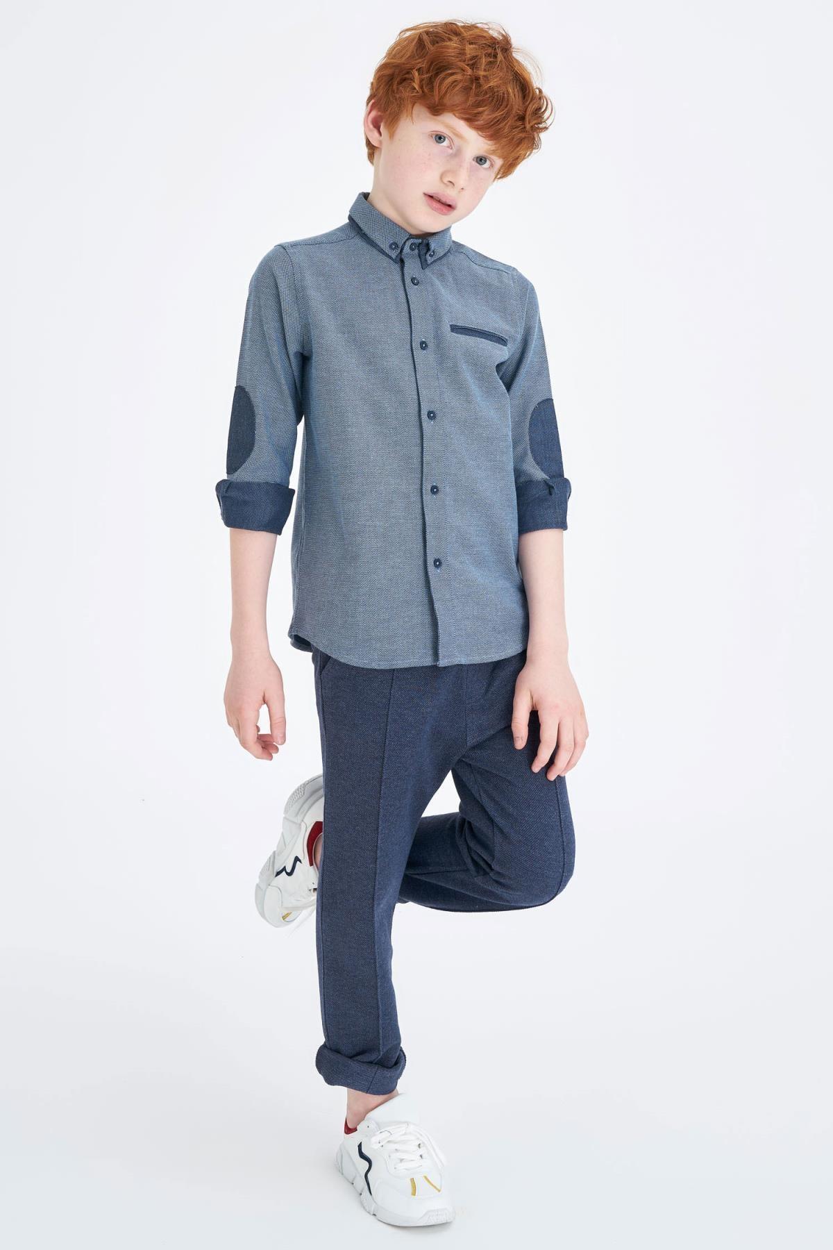 Defacto Erkek Çocuk Polo Yaka Uzun Kol Pamuklu Gömlek 0