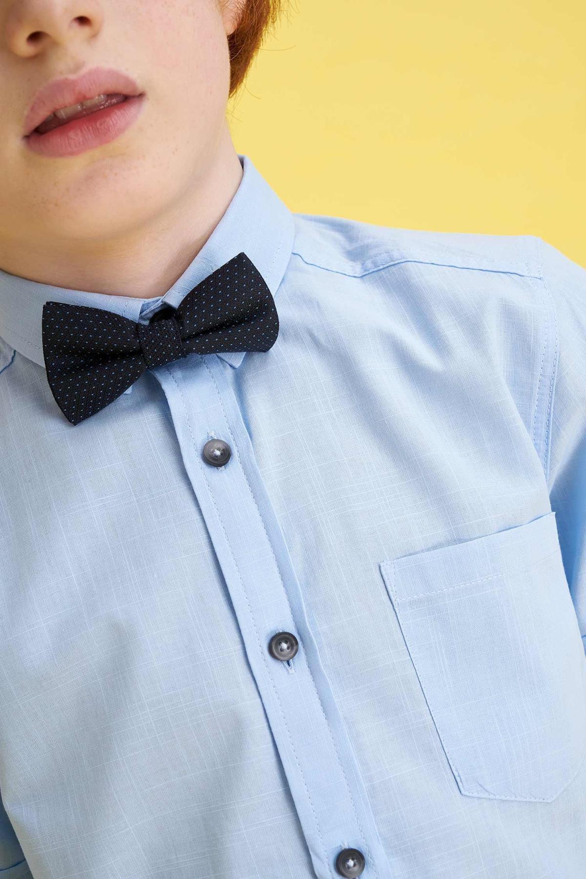 Defacto Erkek Çocuk Mavi Papyonlu Keten Görünümlü Kısa Kollu Gömlek 2