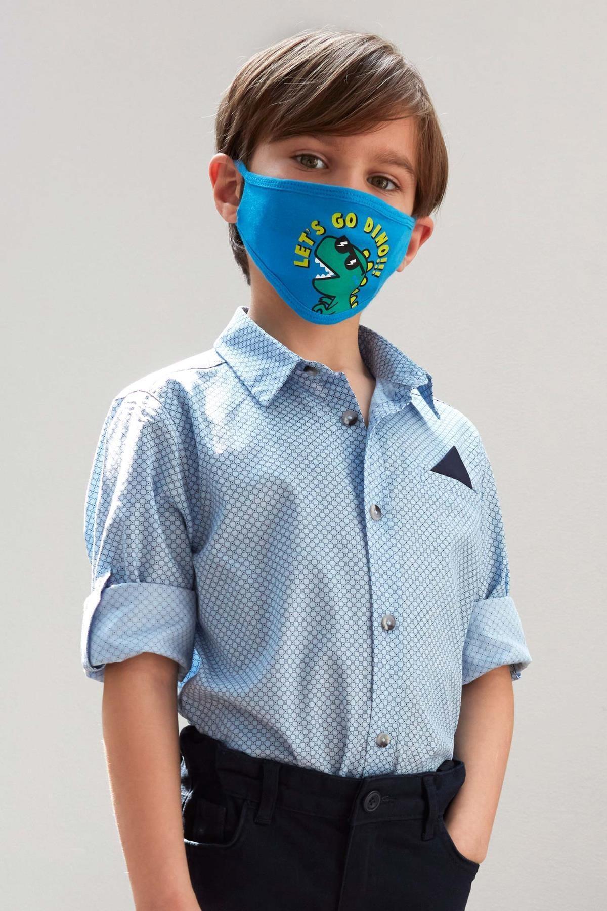 Defacto Erkek Çocuk Baskılı Pamuklu Mendilli Kolları Katlanabilir Gömlek 0