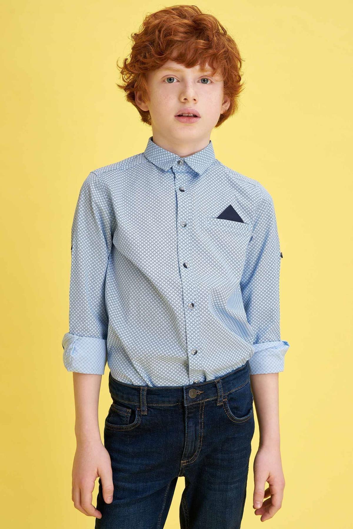 Defacto Erkek Çocuk Baskılı Pamuklu Mendilli Kolları Katlanabilir Gömlek 1