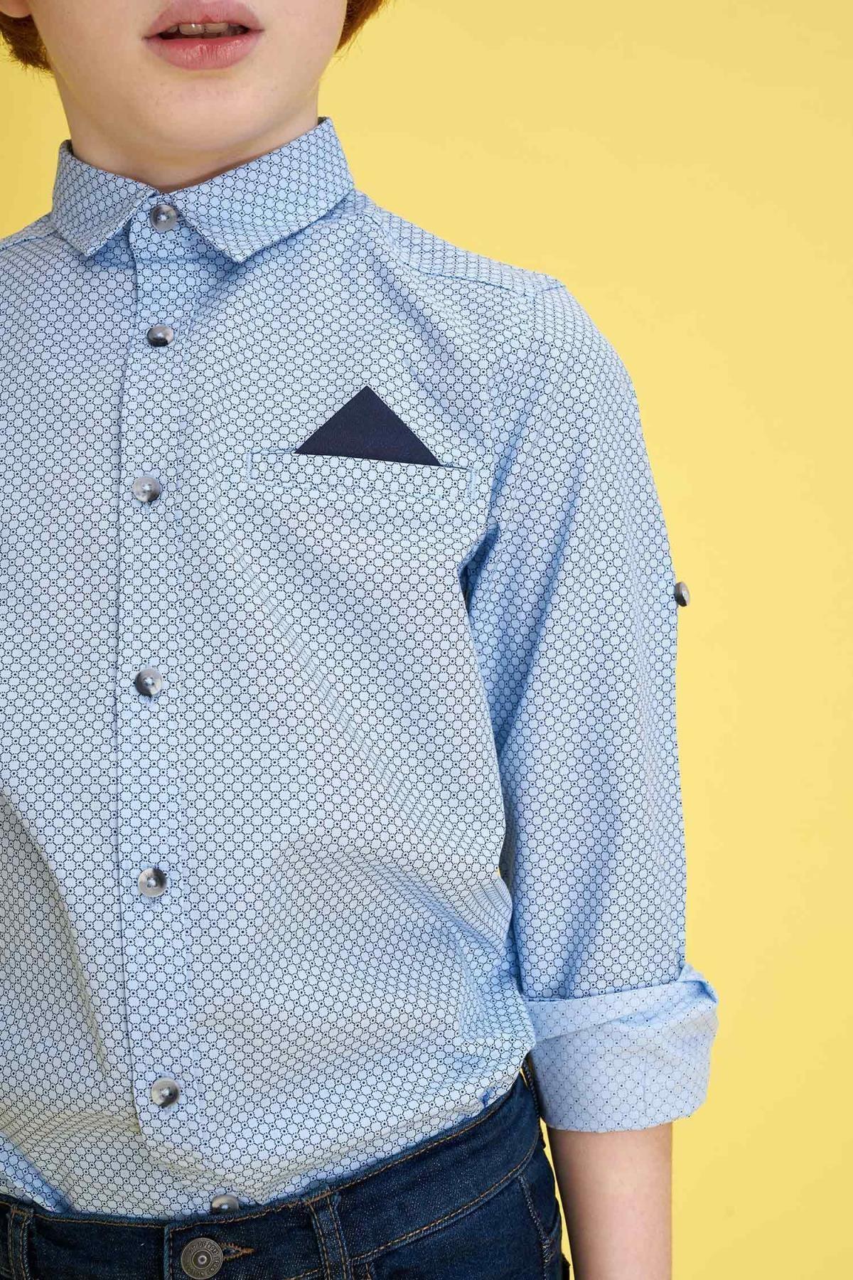 Defacto Erkek Çocuk Baskılı Pamuklu Mendilli Kolları Katlanabilir Gömlek 2