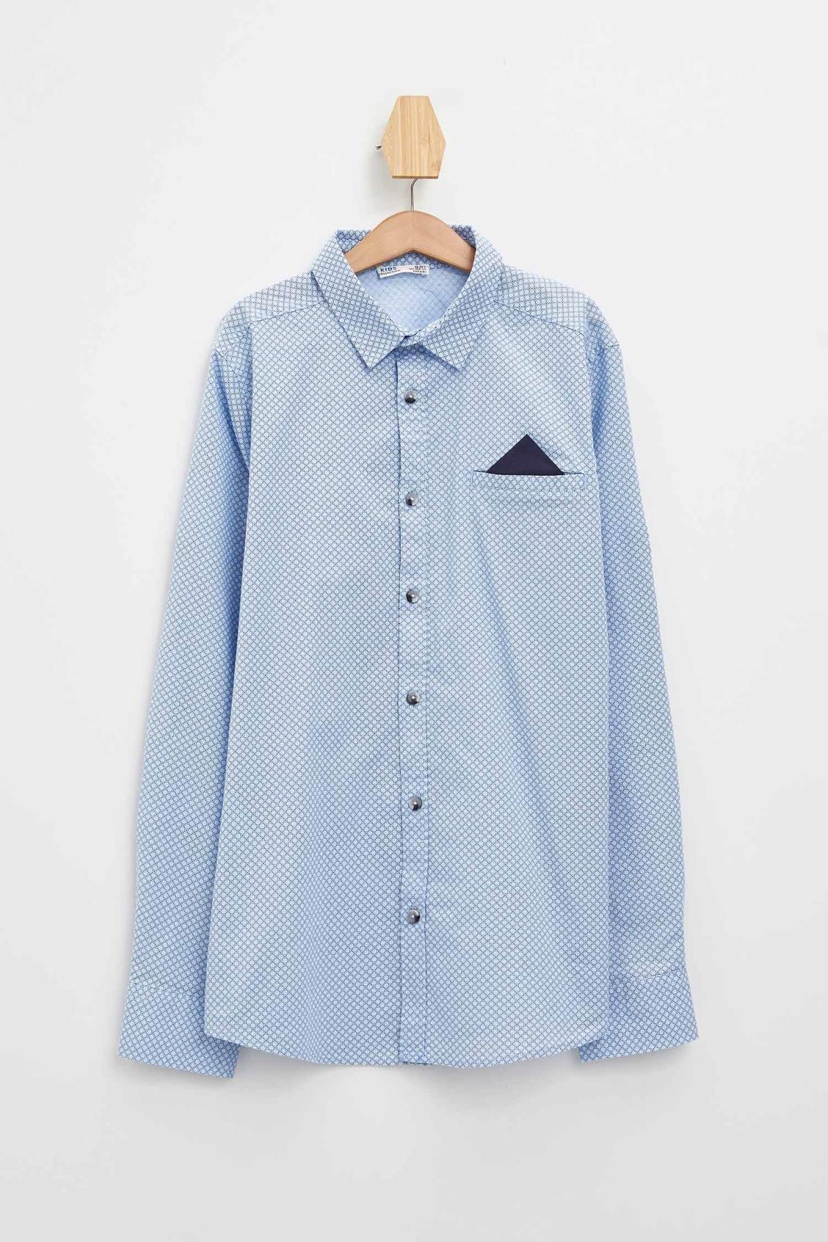 Defacto Erkek Çocuk Baskılı Pamuklu Mendilli Kolları Katlanabilir Gömlek 4