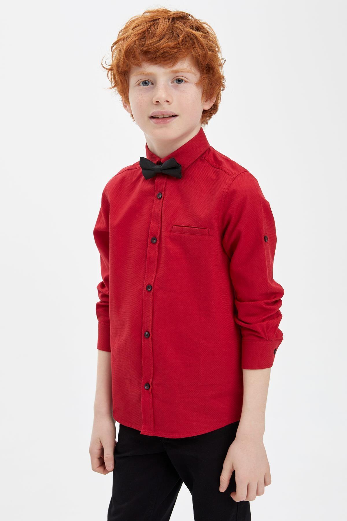 Defacto Erkek Çocuk Papyonlu Pamuklu Kolları Katlanabilir Gömlek 0