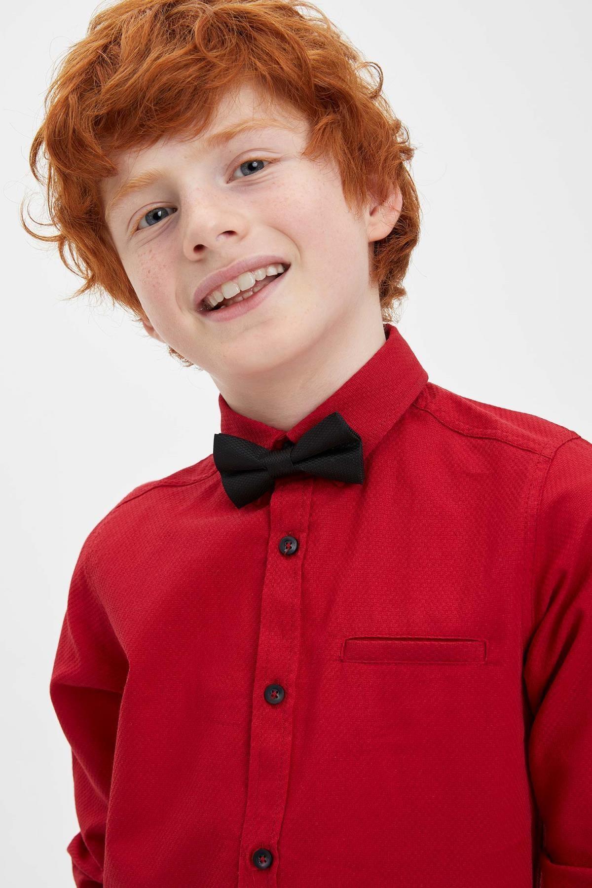 Defacto Erkek Çocuk Papyonlu Pamuklu Kolları Katlanabilir Gömlek 2