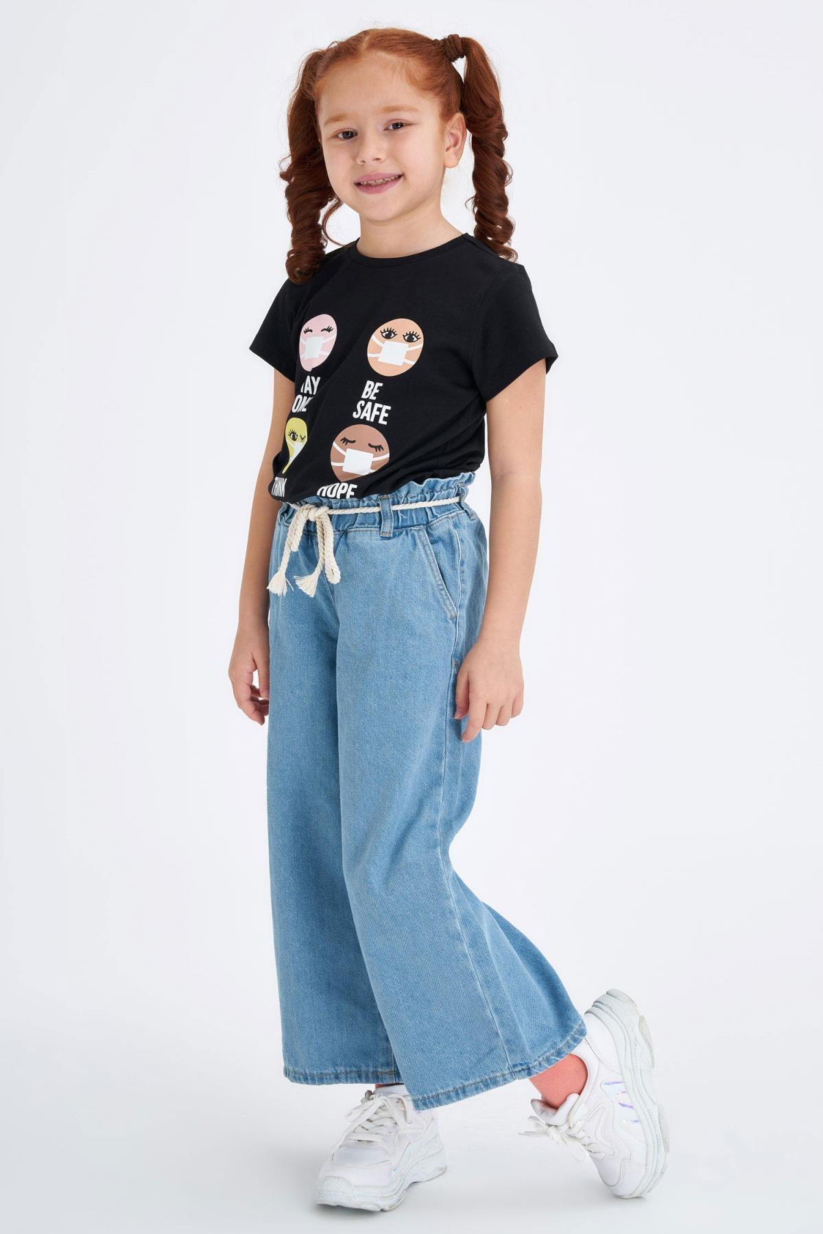 Defacto Kız Çocuk Geniş Paça Hasır Ipli Jean Pantolon 0